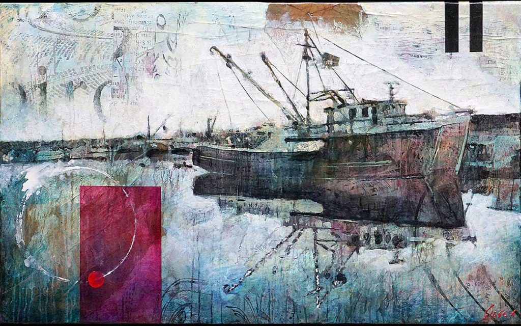 """""""Saturn at Dusk"""" by Christopher """"Siege"""" James depicts the Saturn at the Port Townsend shipyard."""