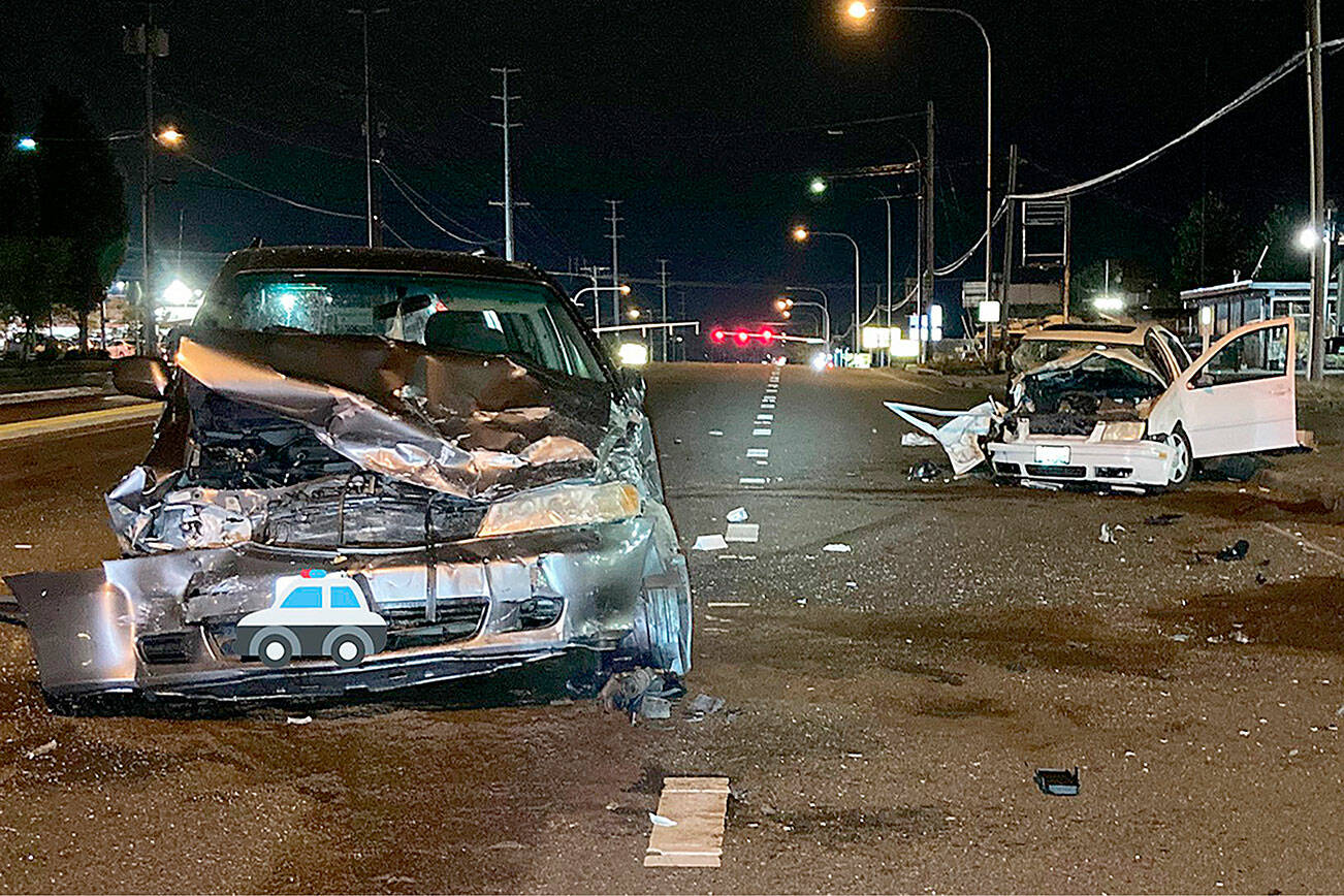 Four people were injured in a suspected DUI collision Saturday night on Highway 99 near Lynnwood. (Washington State Patrol)