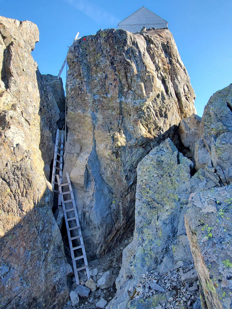 Three ladders serve as the final obstacle to Three Fingers Lookout. (Friends of Three Fingers Lookout)