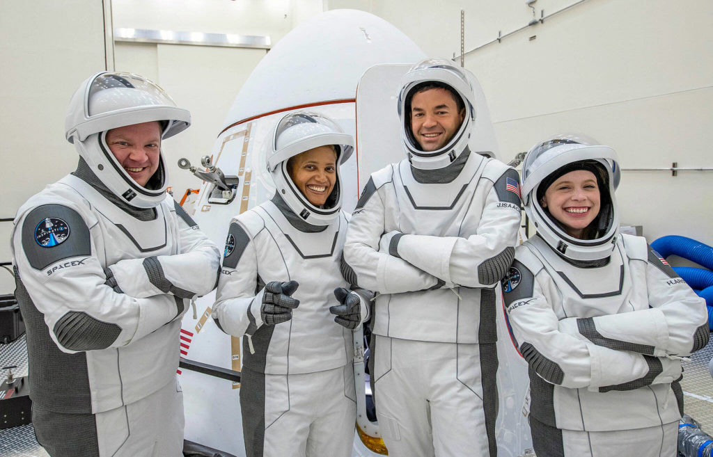 The crew of SpaceX's Inspiration4 orbital mission, from left: Chris Sembroski of Everett, Sian Proctor of Phoenix, Jared Isaacman of Washington, New Jersey, and Hayley Arceneaux of Memphis, Tennessee.  (RoomX)