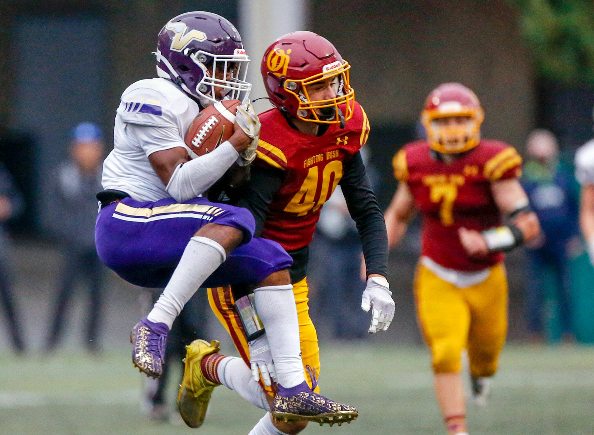 Lake Stevens receiver Trayce Hanks scored a pair of 70-yard touchdowns in a breakout performance. (Kevin Clark / The Herald)
