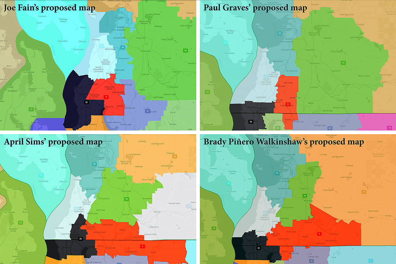 The Voting Commissioners of the Washington State Redistricting Commission released draft Legislative District maps Tuesday. (Washington State Redistricting Commission)
