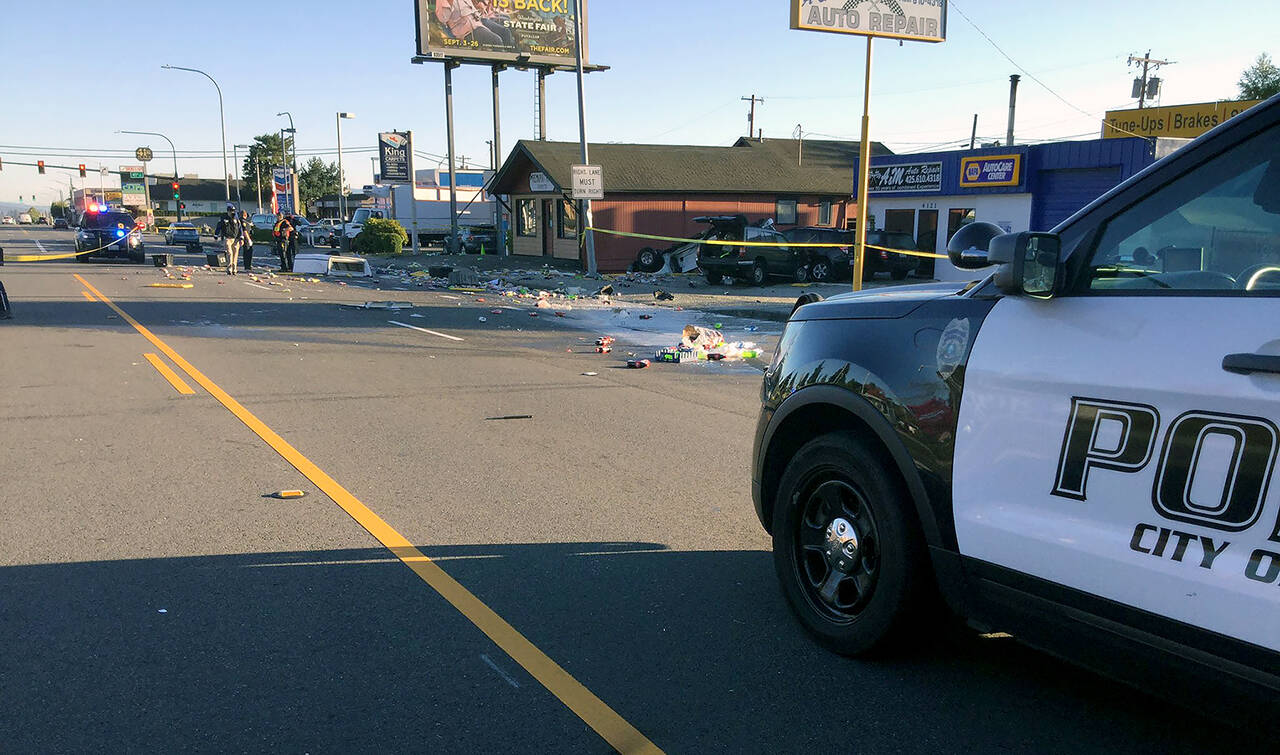 One person was killed Tuesday in a collision on Rucker Avenue near 41st Street in Everett. (Everett Police Department)