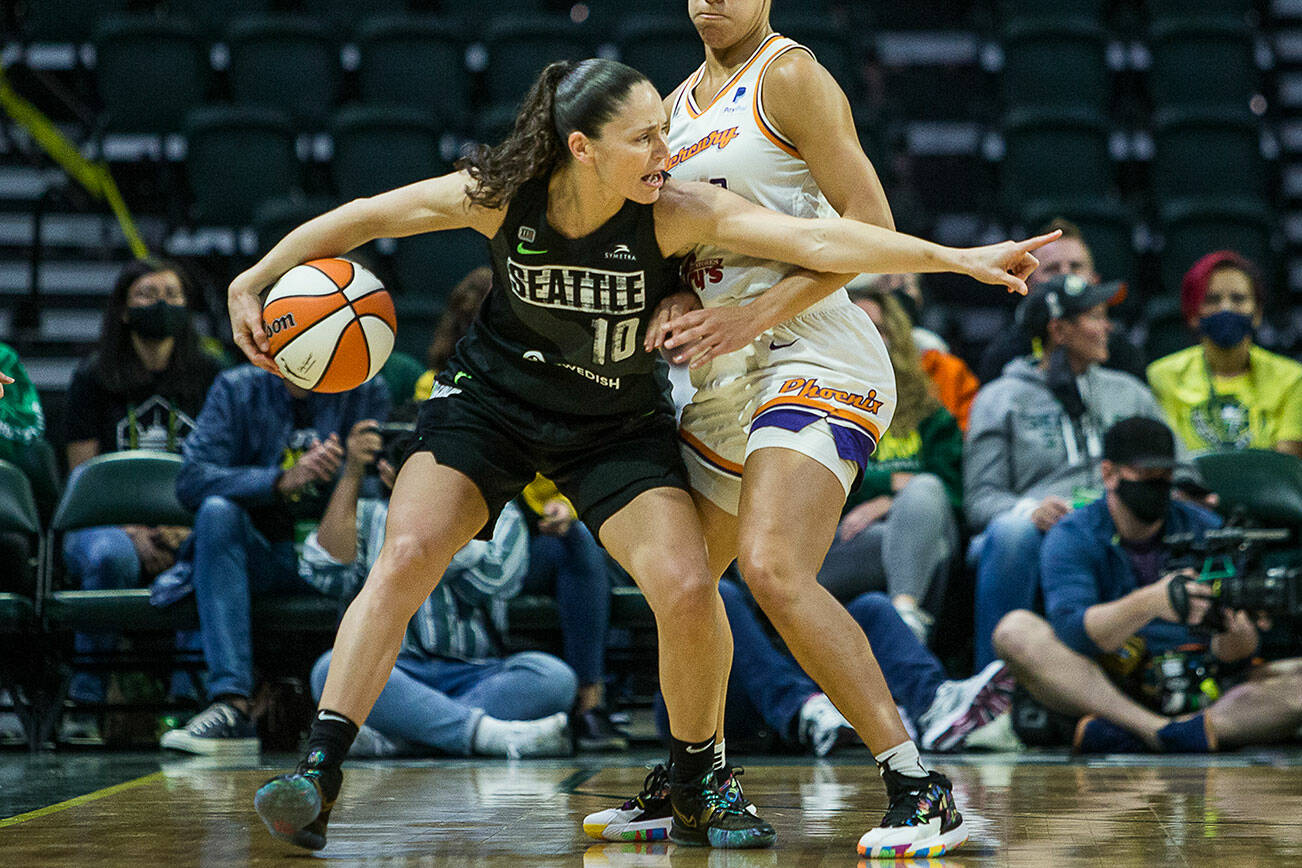 Seattle Storm's Sue Bird yells out a play during the second round single elimination playoff game against Phoenix Mercury at Angel of the Winds Arena on Sunday, Sept. 26, 2021 in Everett, Wa. (Olivia Vanni / The Herald)