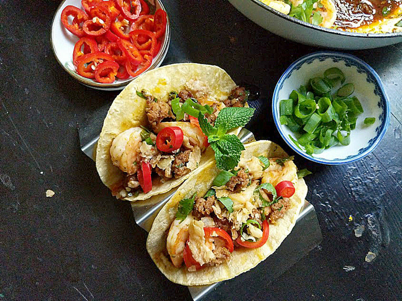 One Night in Bangkok tacos feature shrimp and chorizo in a spicy-sweet sauce. (Gretchen McKay / Pittsburgh Post-Gazette)