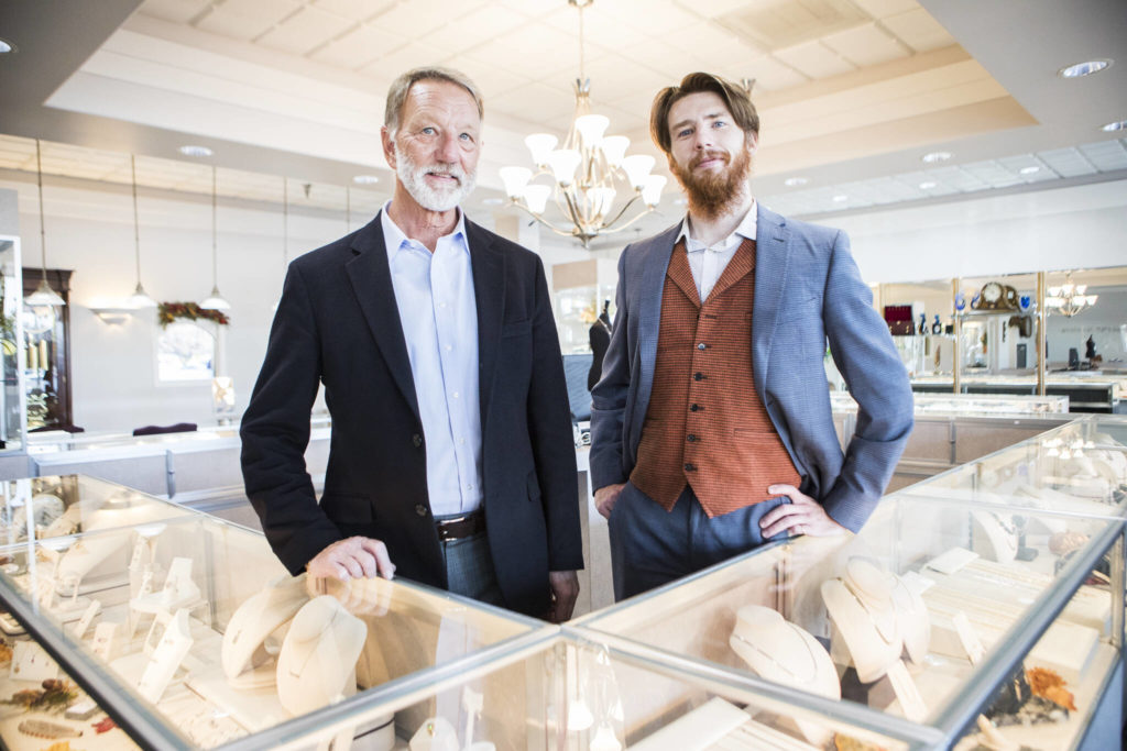 Jeff Wagner (left) and son Casey Wagner at Wagner Jewelers in Marysville. (Olivia Vanni / The Herald)