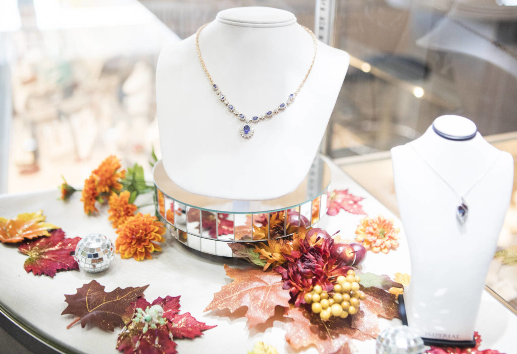 An autumn-themed display at Wagner Jewelers in Marysville. (Olivia Vanni / The Herald)