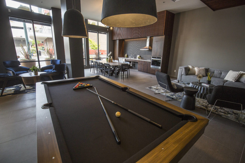 A common area at the Marquee Apartments in Everett. (Andy Bronson / The Herald)