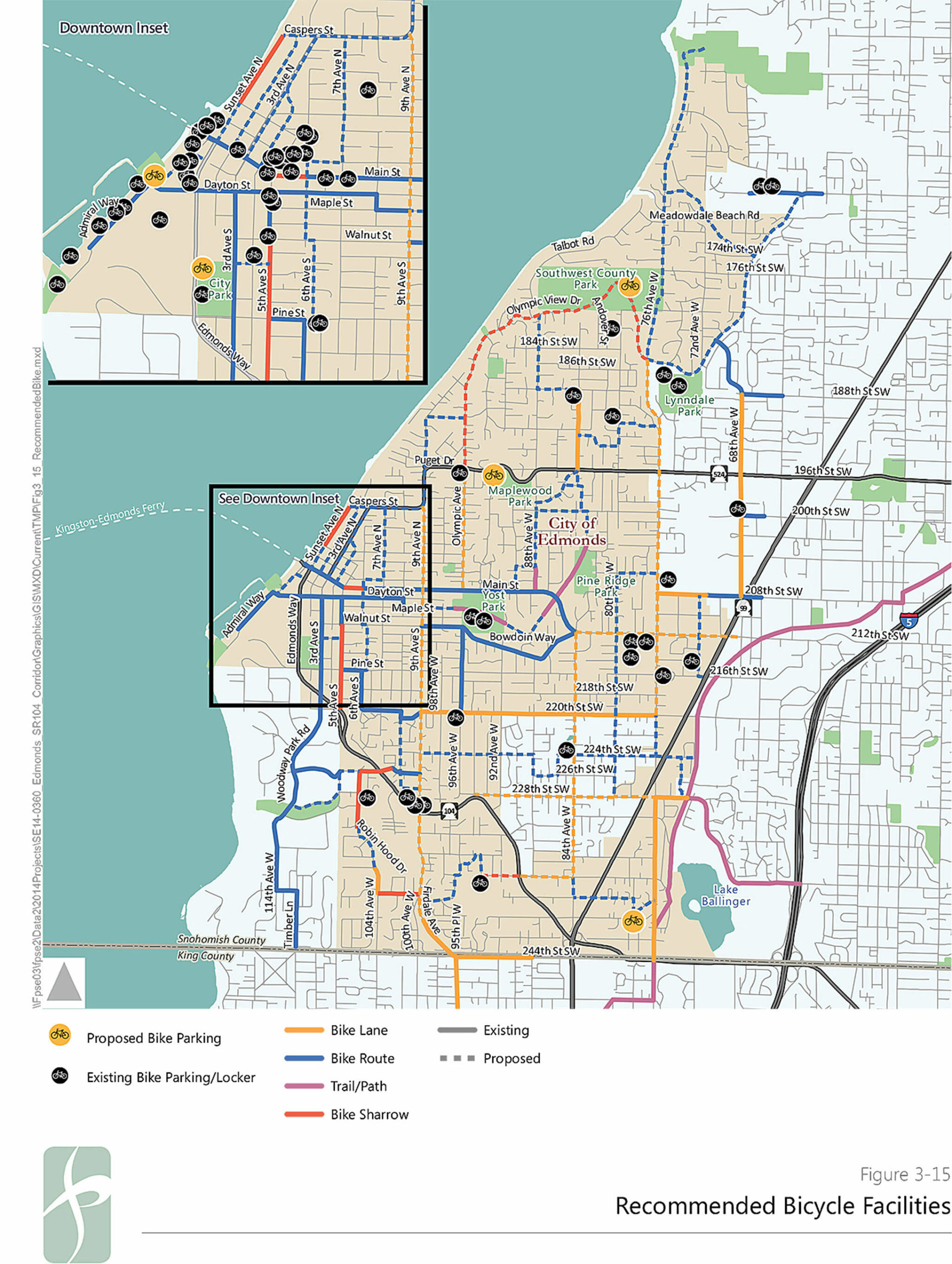 The proposed bike plan for Edmonds includes a project to build bike lanes on 100th Avenue W/Ninth Avenue W, between 244th Street SW and Walnut Street. (City of Edmonds)