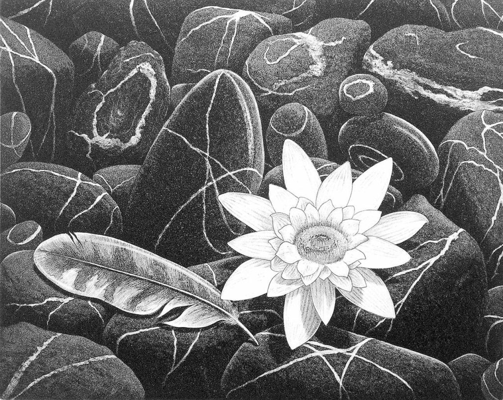"""Rob Schouten's aquatint etchings, such as """"Promise,"""" were made with the Island International Artists."""