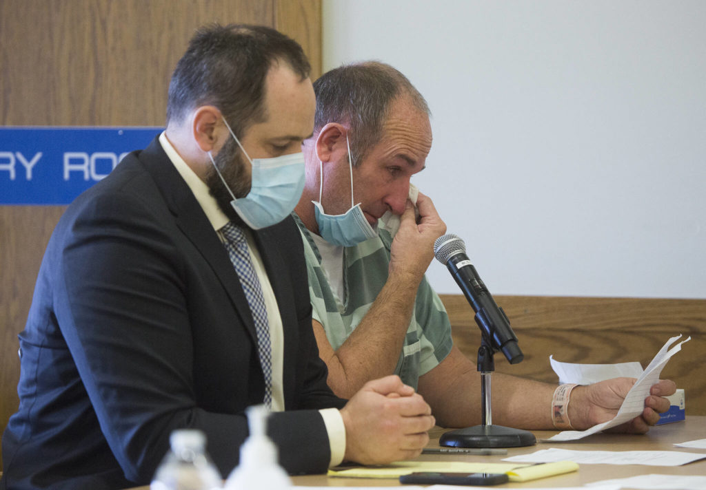 Kevin Best cries while reading a letter to the court during his sentencing hearing at the Snohomish County Courthouse on Monday in Everett. (Andy Bronson / The Herald)