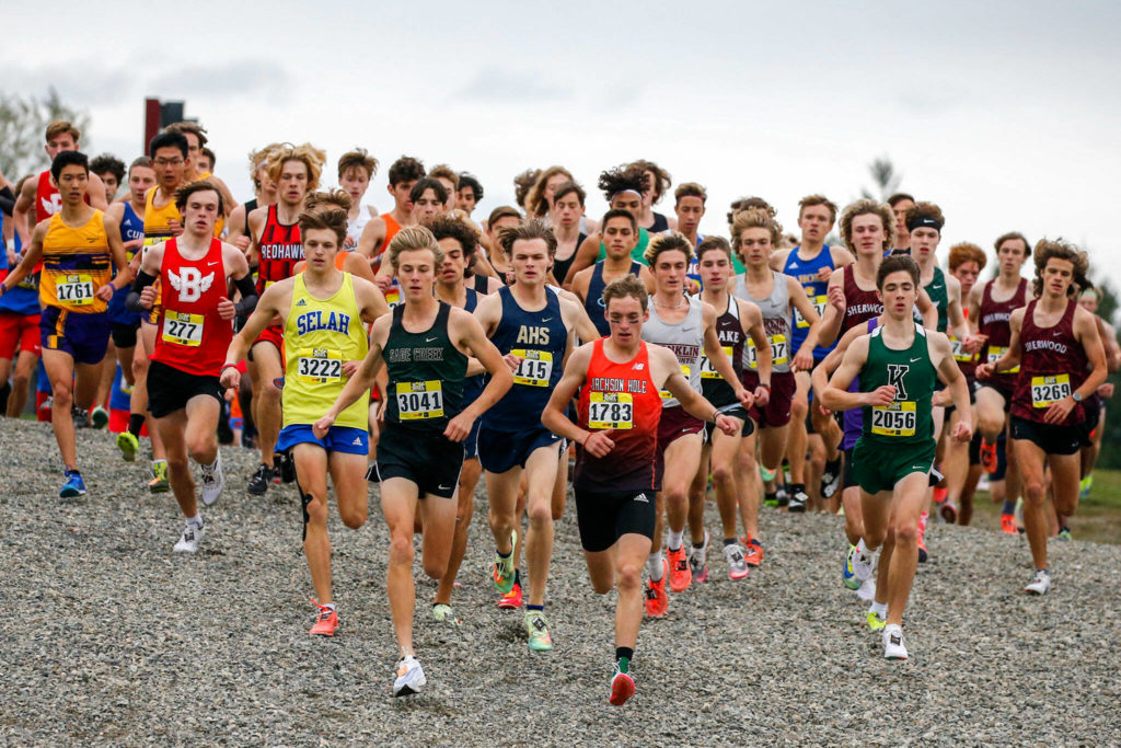 This year's Hole in the Wall Invitational featured more than 100 teams and over 3,000 runners. (Kevin Clark / The Herald)